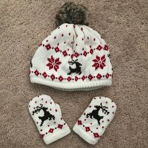 Janie and Jack baby hat and mittens set